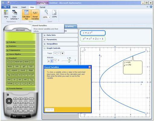 Інтерфейс програми Microsoft Mathematics